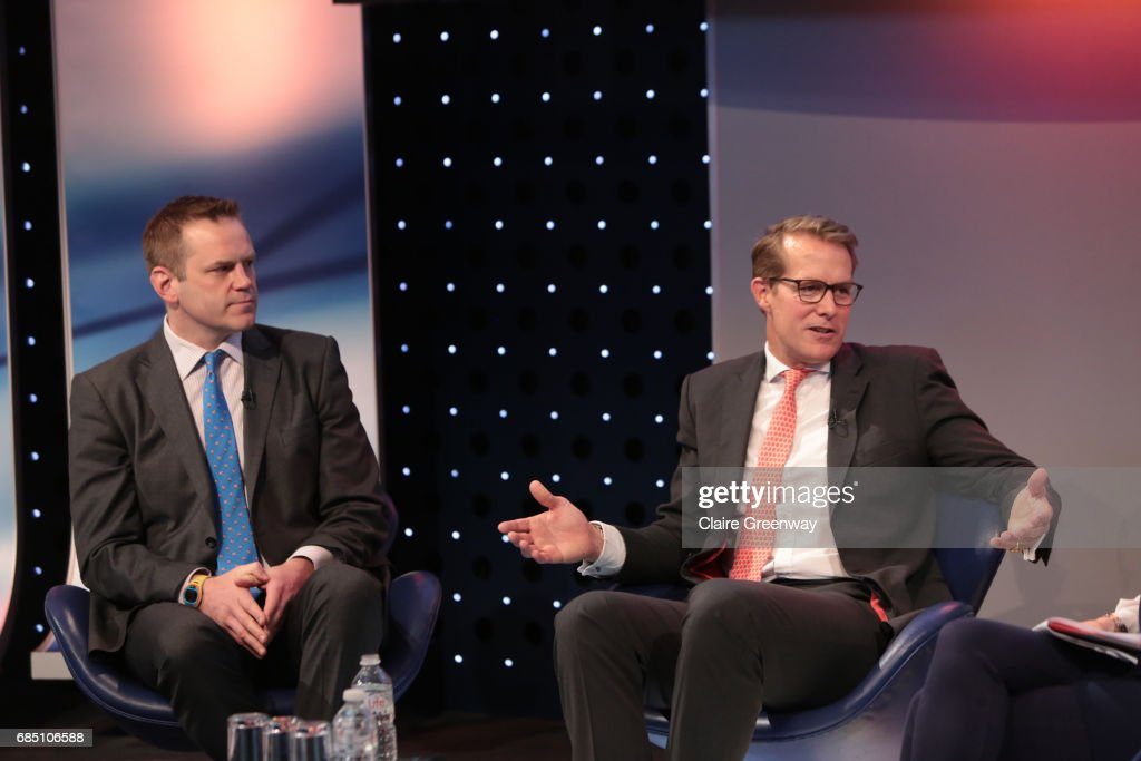 British and Irish Lions, Charlie McEwan (L) and CEO Saracens, Heath Harvey, speak at The Sport Industry Breakfast Club, supported by Deltatre and hosted by BT Sport, at the BT Centre on May 19, 2017 in London, England.