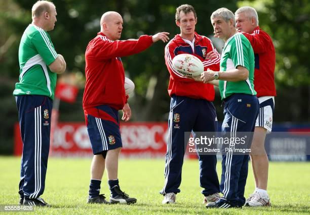 British and Irish Lions' Coaching staff Neil Jenkins Shaun Edwards Rob Howley Ian McGeechan and Warren Gatland during a training session at Bishops...