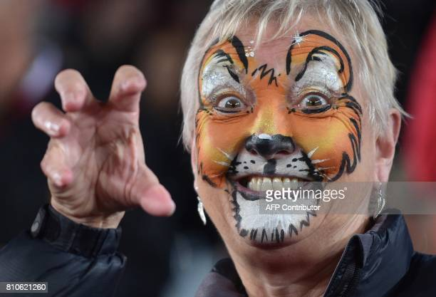 British and Irish Lions fan attends the third rugby union Test match between the British and Irish Lions and New Zealand All Blacks at Eden Park in...