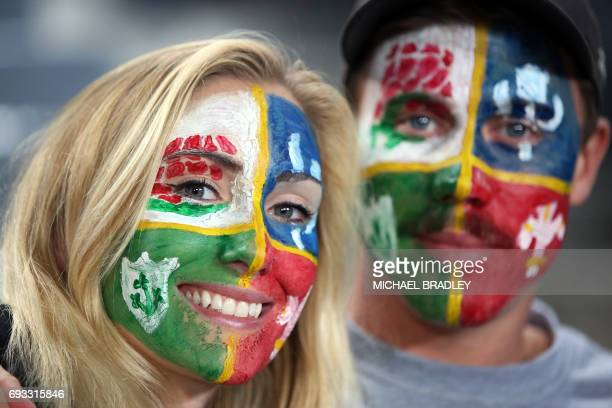 British and Irish Lions fans during the rugby union match between The British and Irish Lions and Auckland Blues at Eden Park in Auckland on June 7...