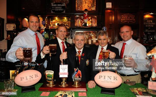British and Irish lions head coach Warren Gatland poses with Lewis Moody Phil Vickery Andy Irvine and Martin Bayfield during the launch of the Thomas...