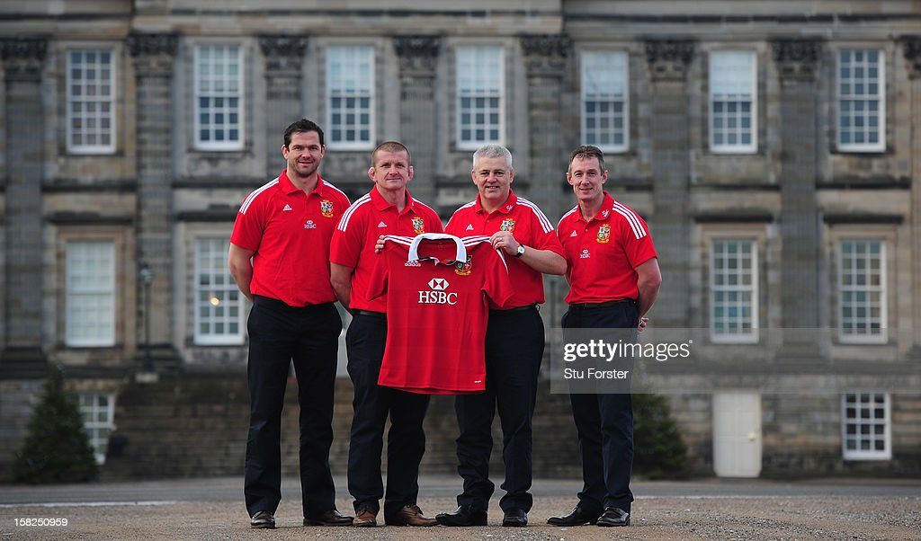 British and Irish Lions Head coach <a gi-track='captionPersonalityLinkClicked' href=/galleries/search?phrase=Warren+Gatland&family=editorial&specificpeople=686626 ng-click='$event.stopPropagation()'>Warren Gatland</a> (2nd R) with assistants <a gi-track='captionPersonalityLinkClicked' href=/galleries/search?phrase=Andy+Farrell+-+Rugby+Coach&family=editorial&specificpeople=234823 ng-click='$event.stopPropagation()'>Andy Farrell</a> (l) <a gi-track='captionPersonalityLinkClicked' href=/galleries/search?phrase=Graham+Rowntree&family=editorial&specificpeople=215047 ng-click='$event.stopPropagation()'>Graham Rowntree</a> (2nd L) and Robert Howley (R) after the announcement of key personnel for the 2013 Australia tour at Hopetoun house on December 12, 2012 in Edinburgh, Scotland.