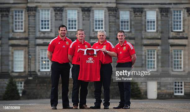 British and Irish Lions Head coach Warren Gatland with assistants Andy Farrell Graham Rowntree and Robert Howley after the announcement of key...