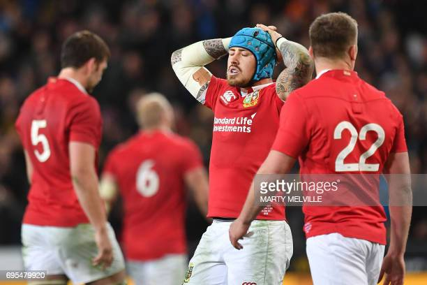 British and Irish Lions' Jack Nowell reacts after defeat during the rugby union match between the Otago Highlanders and the British and Irish Lions...