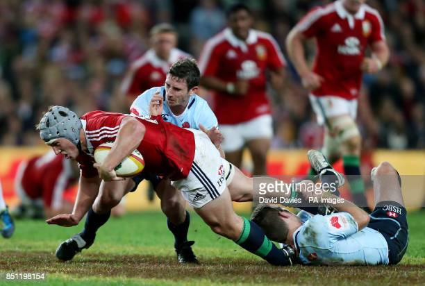 British and Irish Lions' Jonathan Davies finds no way through the Waratahs defences during the British and Irish Lions Tour match at the Allianz...