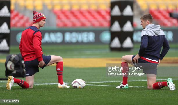 British and Irish Lions Jonny Sexton and Owen Farrell during the kickers session at the Westpac Stadium Wellington