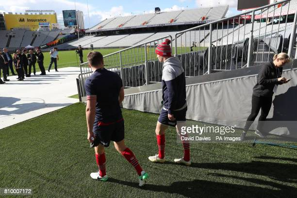 British and Irish Lions Jonny Sexton and Owen Farrell during the kickers session at Eden Park Auckland