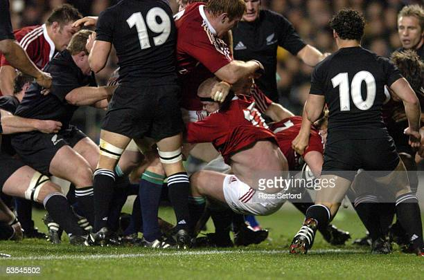 British and Irish Lions Lewis Moody is in the centre for a push over try against the New Zealand All Blacks in the third rugby test at Eden Park...