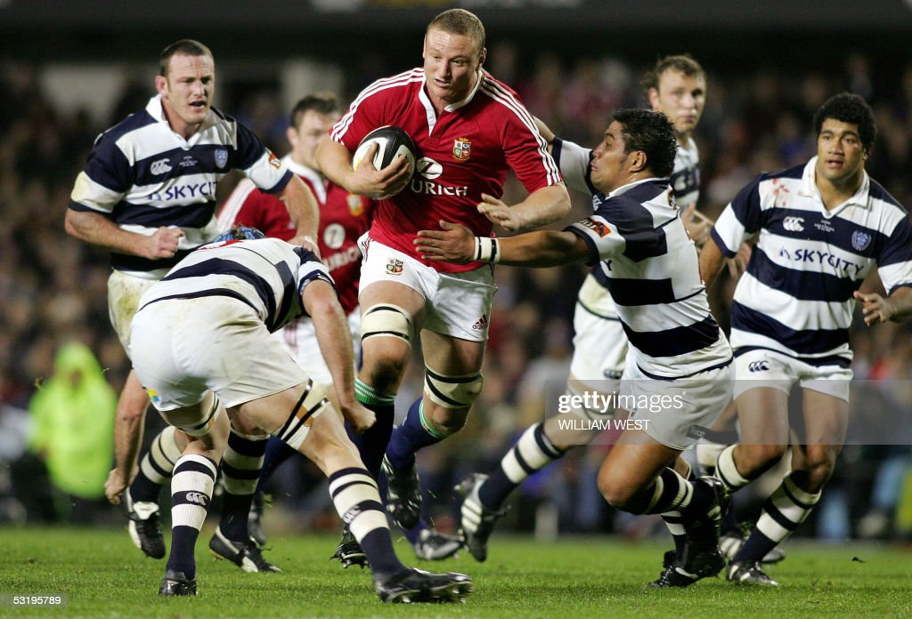 British and Irish Lions lock Brent Cockbain crashes through the Auckland defenders during their match played at Eden Park in Auckland 05 July 2005...