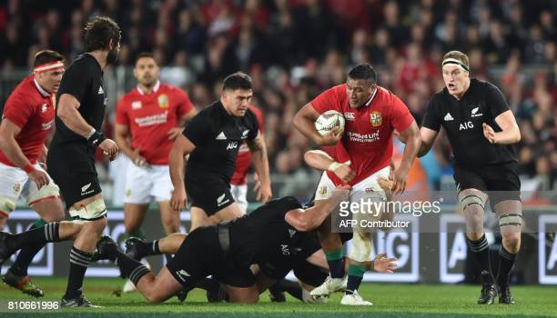 British and Irish Lions loosehead prop Mako Vunipola is tackled during the third rugby union Test match between the British and Irish Lions and New...