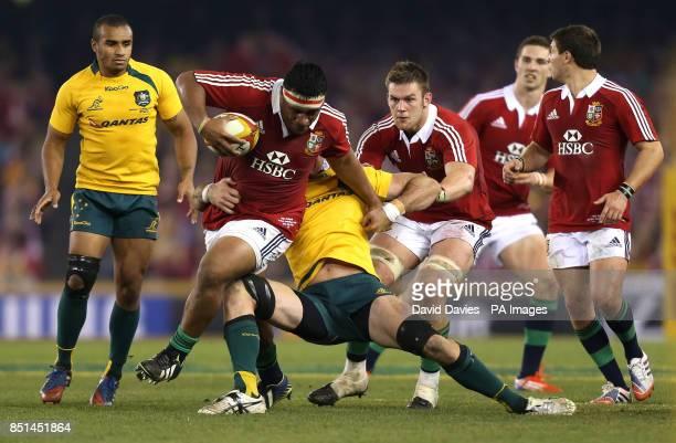 British and Irish Lions' Mako Vunipola breaks through during the Second Test match at the Etihad Stadium Melbourne