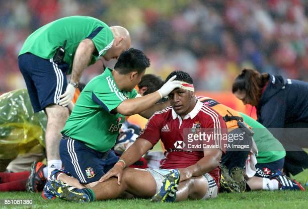 British and Irish Lions' Mako Vunipola receives treatment for an injury