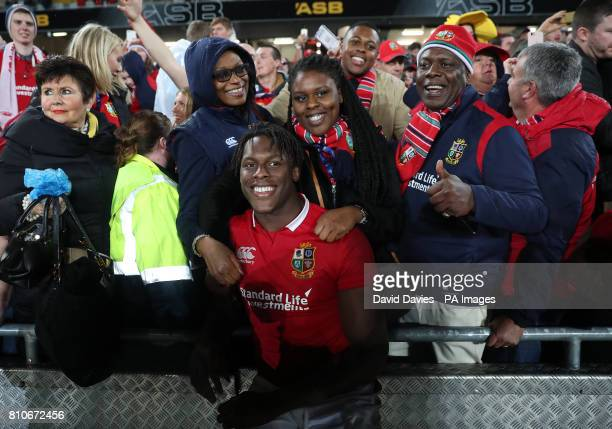 British and Irish Lions' Maro Itoje and family after the third test of the 2017 British and Irish Lions tour at Eden Park Auckland