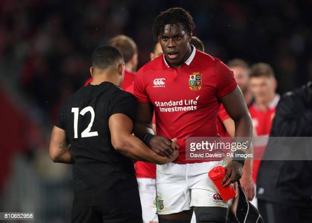 British and Irish Lions' Maro Itoje and New Zealand's Ngani Laumape after the third test of the 2017 British and Irish Lions tour is drawn at Eden...