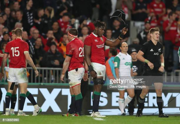 British and Irish Lions' Maro Itoje at the final whistle of the third test of the 2017 British and Irish Lions tour at Eden Park Auckland