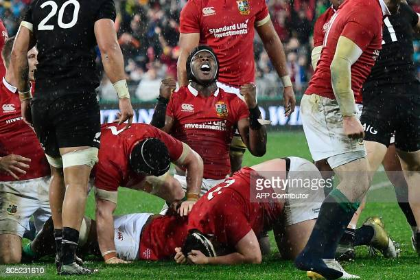 British and Irish Lions' Maro Itoje celebrates winning the second rugby union Test against the New Zealand All Blacks in Wellington on July 1 2017 /...