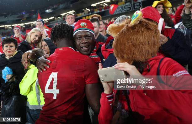 British and Irish Lions' Maro Itoje goes to the crowd after the third test of the 2017 British and Irish Lions tour at Eden Park Auckland