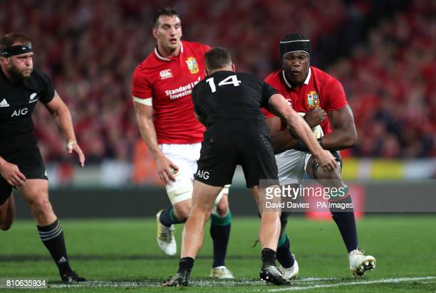 British and Irish Lions' Maro Itoje is tackled by New Zealand's Israel Dagg during the third test of the 2017 British and Irish Lions tour at Eden...