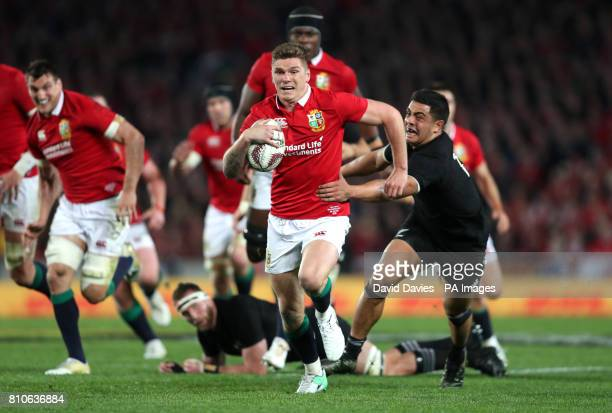 British and Irish Lions' Owen Farrell is tackled by New Zealand's Anton LienertBrown during the third test of the 2017 British and Irish Lions tour...