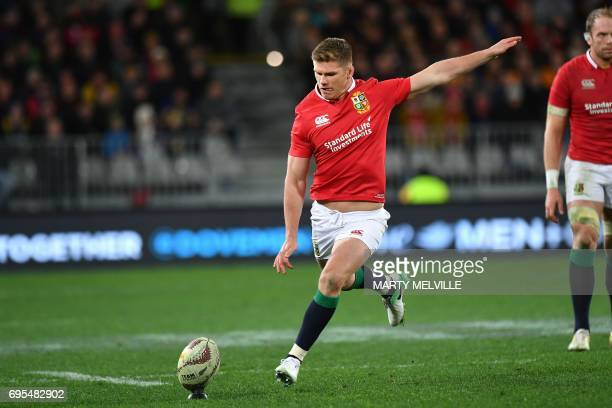 British and Irish Lions' Owen Farrell kicks a penalty during the rugby union match between the Otago Highlanders and the British and Irish Lions at...