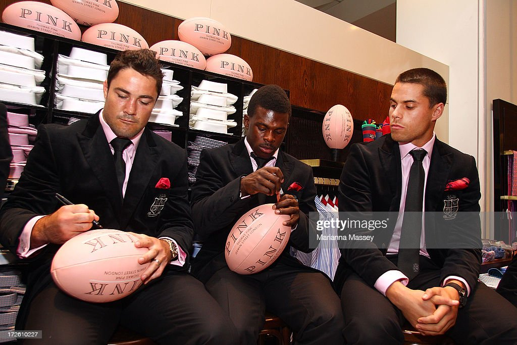 British and Irish Lions player Brad Barritt, Christian Wade and Sean Maitland during the David Jones Thomas Pink Event on July 4, 2013 in Sydney, Australia.