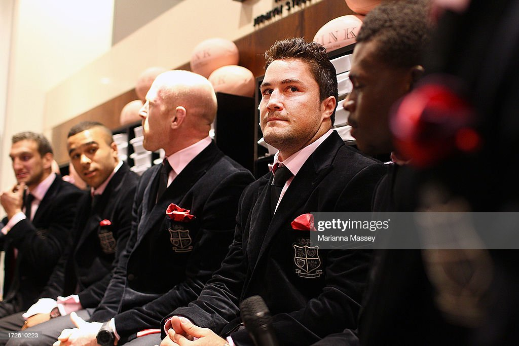 British and Irish Lions player <a gi-track='captionPersonalityLinkClicked' href=/galleries/search?phrase=Brad+Barritt&family=editorial&specificpeople=4542508 ng-click='$event.stopPropagation()'>Brad Barritt</a> during the David Jones Thomas Pink Event on July 4, 2013 in Sydney, Australia.
