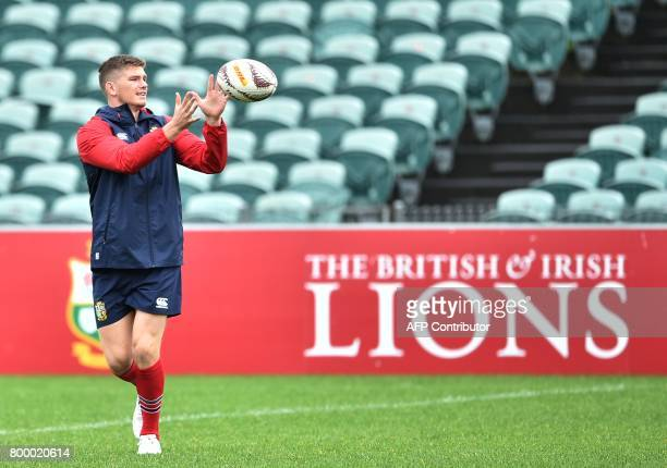 British and Irish Lions player Owen Farrell takes part in the captain's run ahead of the first rugby Test in Auckland on June 23 2017 The British and...