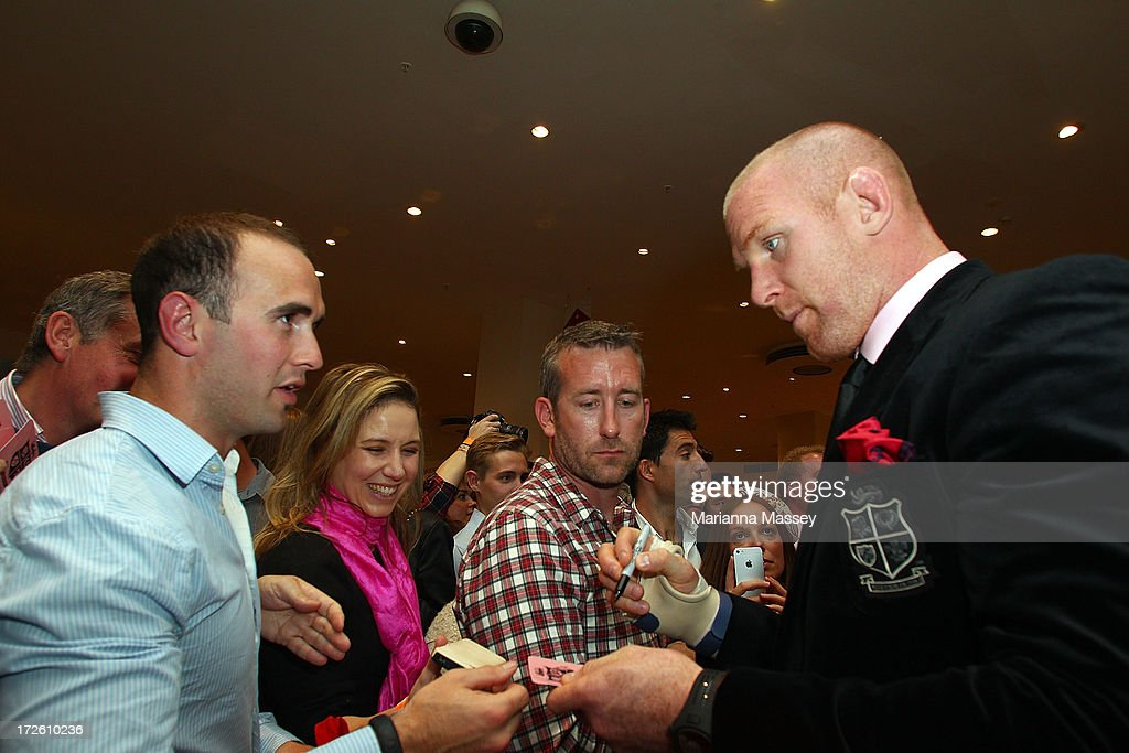British and Irish Lions player Paul O'Connell signs autographs for fans during the David Jones Thomas Pink Event on July 4, 2013 in Sydney, Australia.