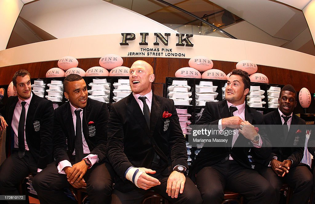 British and Irish Lions player Sam Warburton, Simon Zebo, Paul O'Connell, Brad Barritt and Christian Wade speak to the crowd during the David Jones Thomas Pink Event on July 4, 2013 in Sydney, Australia.