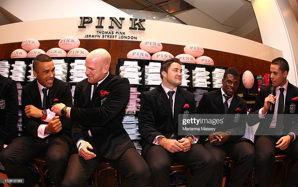 British and Irish Lions player Simon Zebo, Paul O'Connell, Brad Barritt , Christian Wade and Sean Maitland speak to the crowd during the David Jones Thomas Pink Event on July 4, 2013 in Sydney, Australia.