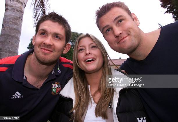 British and Irish Lions players Scott Murray and Jeremy Davidson meet actress Holly Valance who plays Flick in the Neighbours television programme...