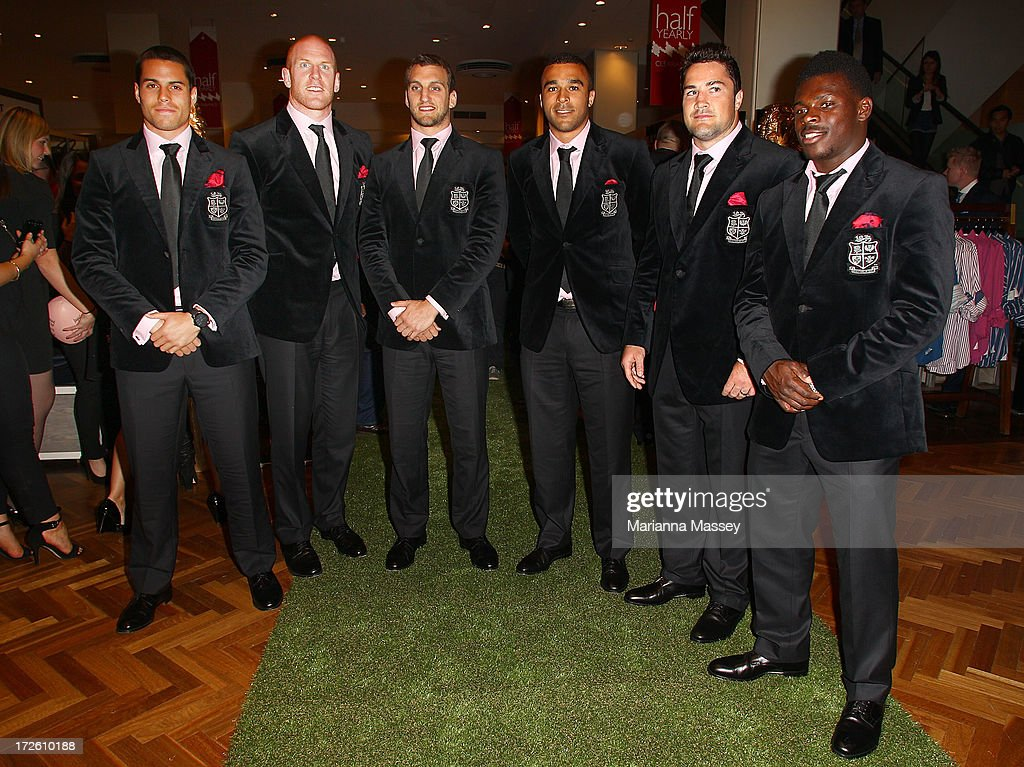 British and Irish Lions players Sean Maitland, Paul O'Connell, Sam Warburton, Simon Zebo, Brad Barritt and Christian Wade and speak to the crowd during the David Jones Thomas Pink Event on July 4, 2013 in Sydney, Australia.