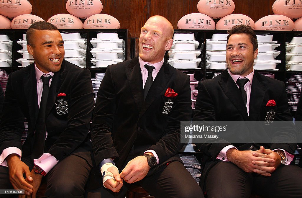 British and Irish Lions players Simon Zebo, Paul O'Connell and Brad Barritt speak to the crowd during the David Jones Thomas Pink Event on July 4, 2013 in Sydney, Australia.