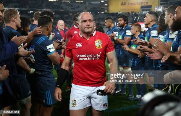 British and Irish Lions' Rory Best leaves the field after losing to the Blues following the rugby union match between The British and Irish Lions and...