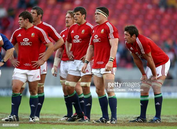 British and Irish Lions' Ross Ford Simon Shaw Andy Powell Donncha O'Callaghan Andrew Sheridan and Nathan Hines