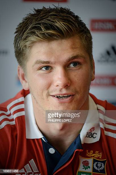 British and Irish Lions rugby player Owen Farrell talks to the press in Hong Kong on May 30 2013 The starstudded British and Irish Lions will play...