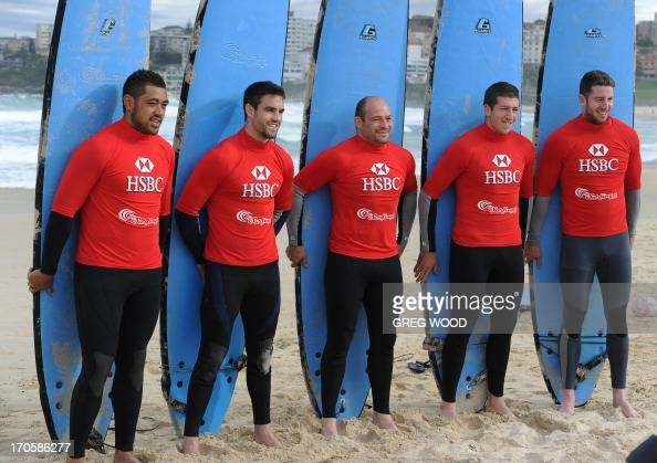 British and Irish Lions rugby team members Toby Faletau Conor Murray Rory Best Justin Tipuric and Alex Cuthbert take part in a surfing lesson at...