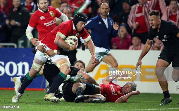 British and Irish Lions Sean OÕBrien looks to dive over to score a try during their Test match between New Zealand and the British and Irish Lions at...
