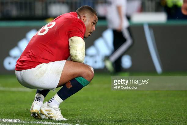 British and Irish Lions substitute Kyle Sinckler reacts after the third rugby union Test match between the British and Irish Lions and New Zealand...