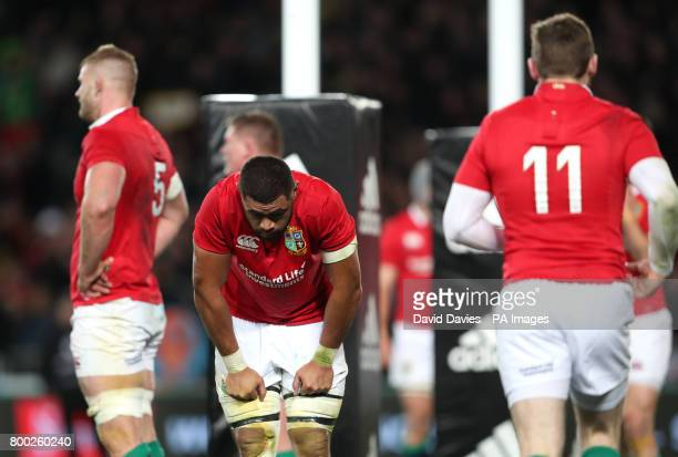British and Irish Lions' Taulupe Faletau is dejected after New Zealand's Codie Taylor scored his side's first try during the first test of the 2017...