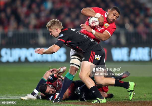 British and Irish Lions' Taulupe Faletau is tackled during the tour match at the AMI Stadium Christchurch