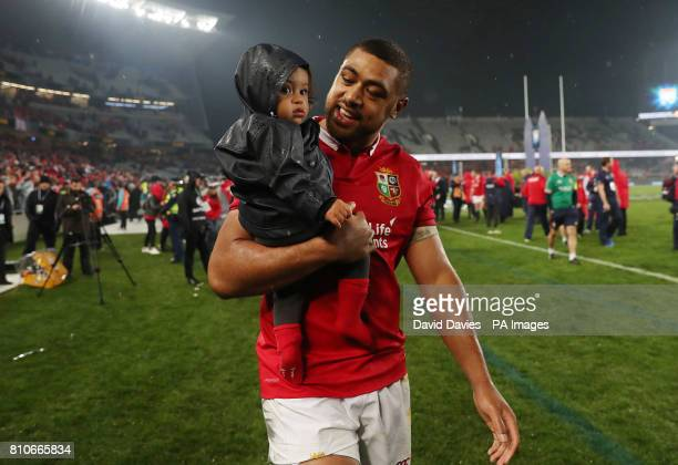 British and Irish Lions' Taulupe Faletau with son Israel after the third test of the 2017 British and Irish Lions tour at Eden Park Auckland