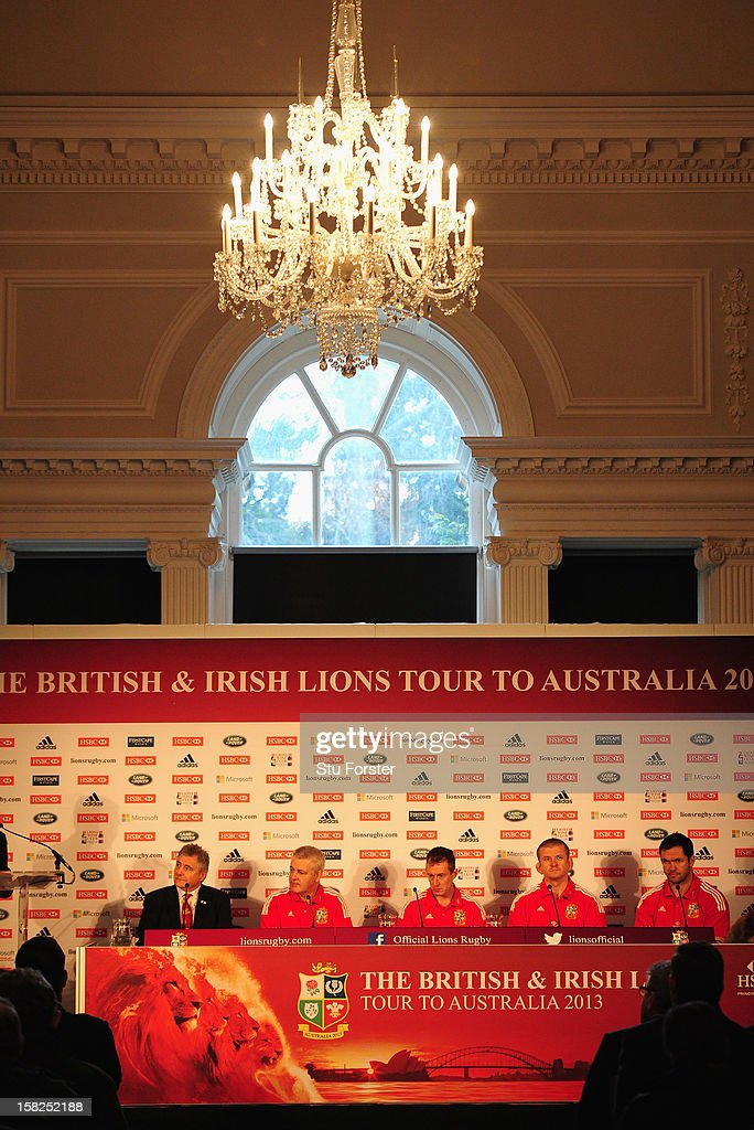British and Irish Lions Tour Manager Andy Irvine (l) with Head coach <a gi-track='captionPersonalityLinkClicked' href=/galleries/search?phrase=Warren+Gatland&family=editorial&specificpeople=686626 ng-click='$event.stopPropagation()'>Warren Gatland</a> (2nd L) with assistants Robert Howley; <a gi-track='captionPersonalityLinkClicked' href=/galleries/search?phrase=Graham+Rowntree&family=editorial&specificpeople=215047 ng-click='$event.stopPropagation()'>Graham Rowntree</a> and <a gi-track='captionPersonalityLinkClicked' href=/galleries/search?phrase=Andy+Farrell+-+Rugby+Coach&family=editorial&specificpeople=234823 ng-click='$event.stopPropagation()'>Andy Farrell</a> (r) at the press conference to announce key personnel for the 2013 Australia tour at Hopetoun house on December 12, 2012 in Edinburgh, Scotland.