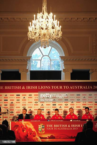 British and Irish Lions Tour Manager Andy Irvine with Head coach Warren Gatland with assistants Robert Howley Graham Rowntree and Andy Farrell at the...