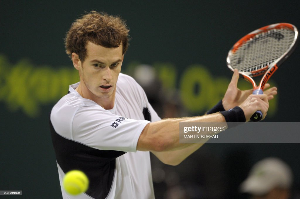 British Andy Murray hits a return to US Andy Roddick during the final of the Qatar Tennis Open 2009 on January 10 2009 in Doha Murray won 64 62 AFP...