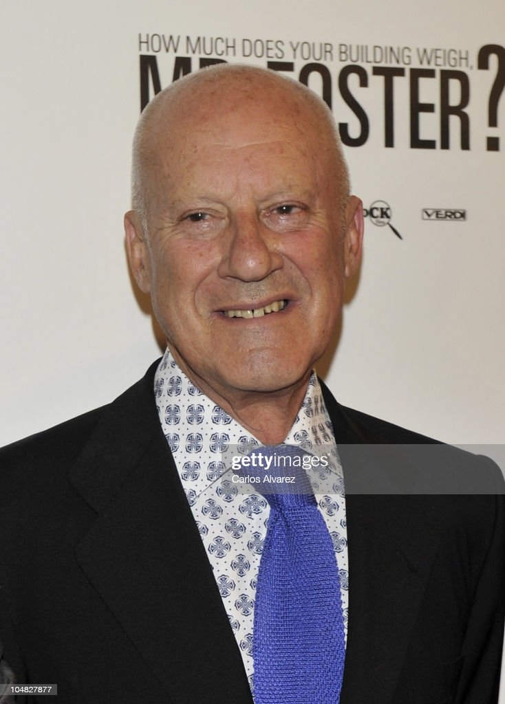 British architect <a gi-track='captionPersonalityLinkClicked' href=/galleries/search?phrase=Norman+Foster&family=editorial&specificpeople=138395 ng-click='$event.stopPropagation()'>Norman Foster</a> attends 'How Much Does Your Building Weigh, Mr. Foster?' premiere at the Verdi Cinema on October 5, 2010 in Madrid, Spain.