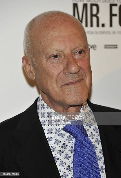 British architect Norman Foster attends 'How Much Does Your Building Weigh Mr Foster' premiere at the Verdi Cinema on October 5 2010 in Madrid Spain
