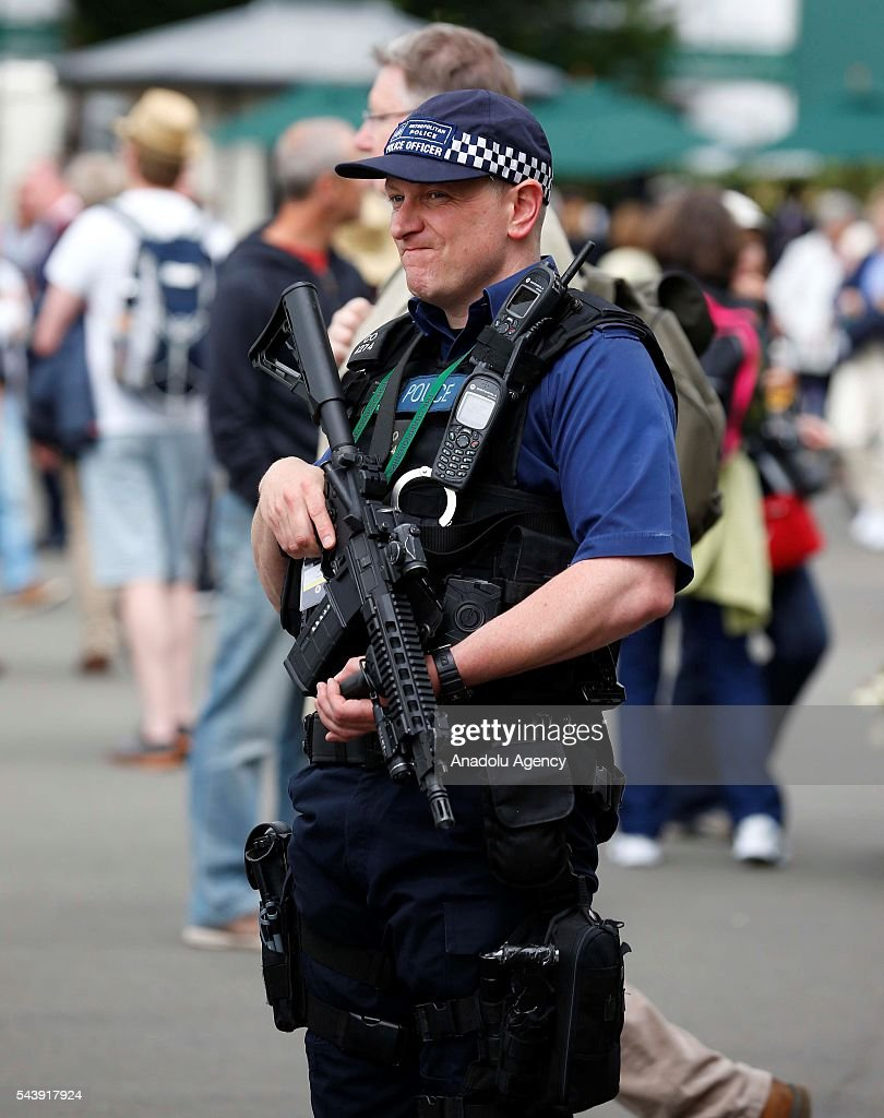 British armed police patrol around the complex on day four of the 2016 Wimbledon Championships at the All England Lawn and Croquet Club in London, United Kingdom on June 30, 2016.