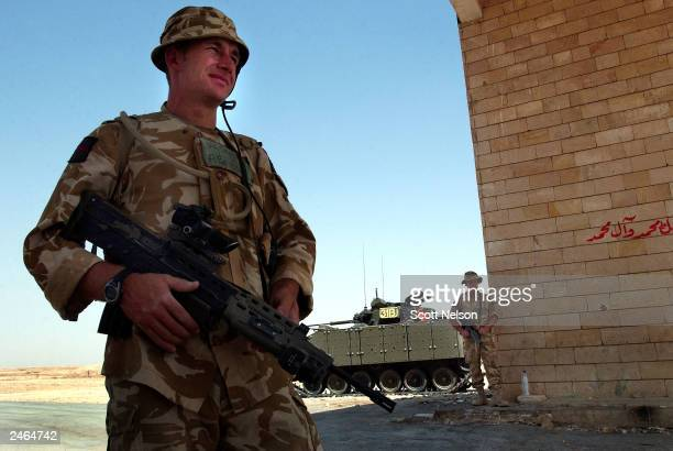 British Army 1st Battallion King's Regiment Kingsman John Sealey from Liverpool England and Kingsman Anthony Cornwall also from Liverpool stand watch...