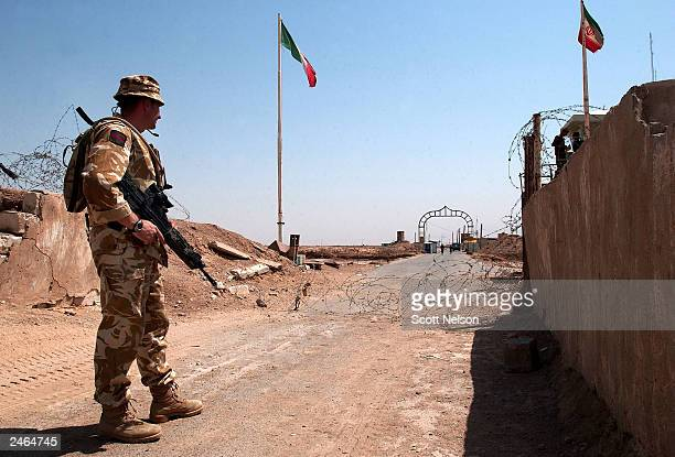 British Army 1st Battallion King's Regiment Kingsman John Sealey from Liverpool England stands watch September 5 2003 at a crossing point on the...